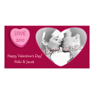 Romantic Candy Heart Personalized Photo Cards