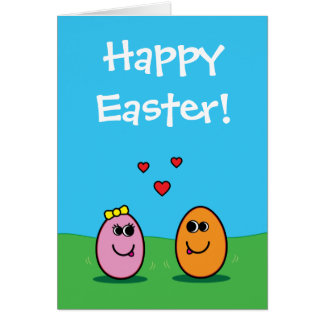 Romantic Cartoon Easter Egg Couple Partner Card