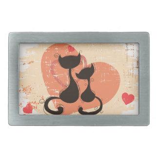Romantic cats in love belt buckle