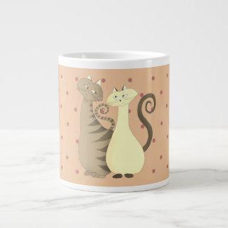 Romantic Cats Polka Dots Girly Pale Pink Tender Large Coffee Mug