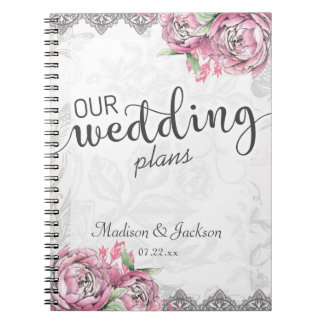Romantic Chic Peony Floral & Lace Wedding Planner Notebooks