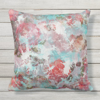 Romantic Chic Pink Floral Teal Watercolor Pattern Cushion