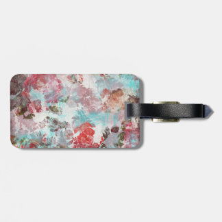 Romantic Chic Pink Floral Teal Watercolor Pattern Luggage Tag