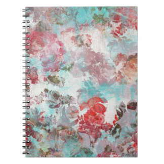 Romantic Chic Pink Floral Teal Watercolor Pattern Notebook
