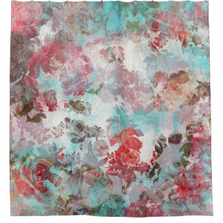 Romantic Chic Pink Floral Teal Watercolor Pattern Shower Curtain