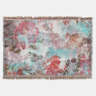 Romantic Chic Pink Floral Teal Watercolor Pattern Throw Blanket