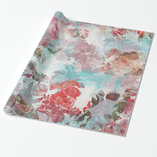 Romantic Chic Pink Floral Teal Watercolor Pattern Wrapping Paper