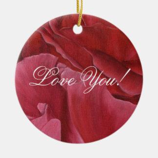 Romantic chic red love roses round ceramic decoration