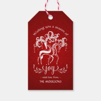 Romantic Christmas Reindeer Joy - Red White Damask Gift Tags