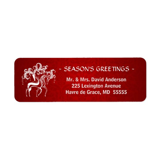 Romantic Christmas Stag and Doe - Red and White Return Address Label