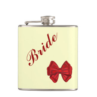 Romantic classy  red bow bride light yelow No.1 Flask