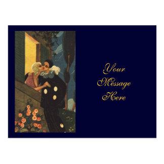 Romantic Clown Kissing Lover Postcard