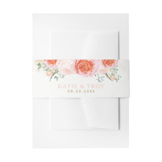 Romantic Coral, Pink and Peach Belly Bands Invitation Belly Band