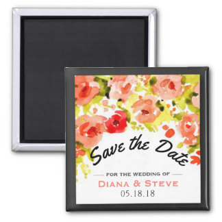 Romantic Coral Pink Wedding Flowers Save the Date Magnet
