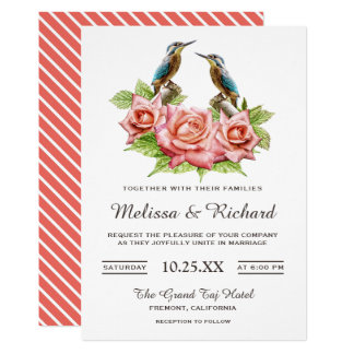 Romantic Coral Roses and Birds Wedding Invitation