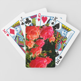 Romantic Coral roses Bicycle Playing Cards