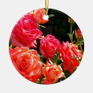 Romantic Coral Roses Ceramic Ornament