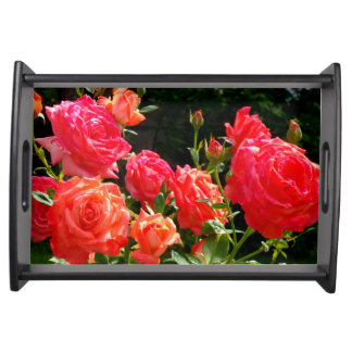 Romantic Coral roses Serving Tray