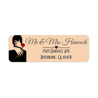 Romantic Couple Art Deco Wedding Return Address Label