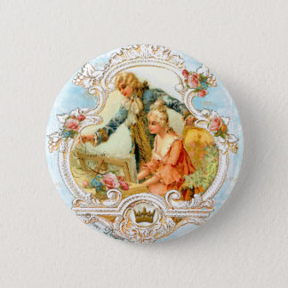 Romantic Couple French Vintage Framed 6 Cm Round Badge