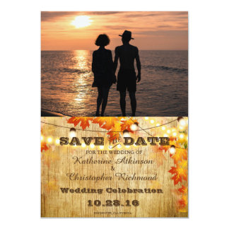Romantic Couple Holding Hands at Sunset/fall 13 Cm X 18 Cm Invitation Card