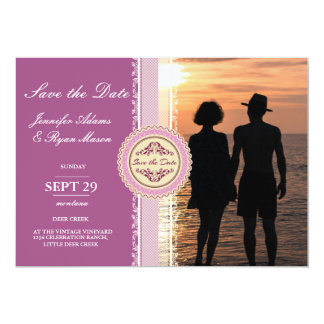 Romantic Couple Holding Hands at Sunset/pink theme Card