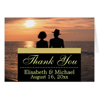 Romantic Couple Holding Hands at Sunset/Thank You Note Card