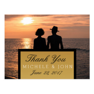 Romantic Couple Holding Hands at Sunset/Thank You Postcard