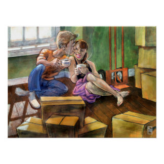 Romantic Couple House Warming Wall Art Poster
