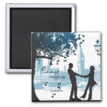 Romantic couple in love save the date announcement
