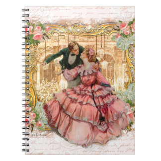 Romantic Couple Versaille Dance French Spiral Notebook
