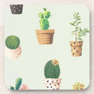 Romantic Cute succulent cactus on mint background Coaster