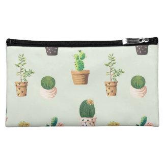 Romantic Cute succulent cactus on mint background Cosmetic Bag