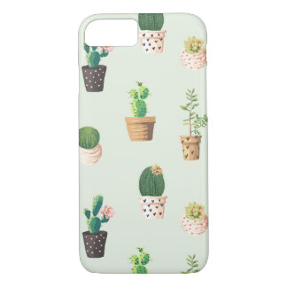 Romantic Cute succulent cactus on mint background iPhone 8/7 Case