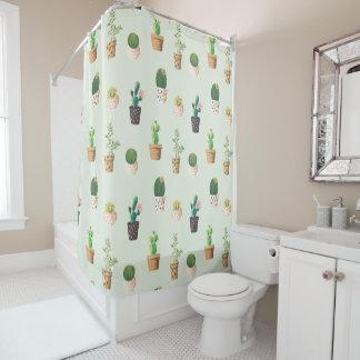 Romantic Cute succulent cactus on mint background Shower Curtain
