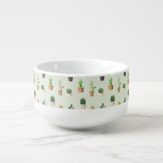Romantic Cute succulent cactus on mint background Soup Mug