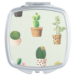 Romantic Cute succulent cactus on mint background Vanity Mirror