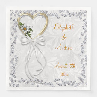 Romantic Daisy, Diamonds & White Ribbon Engagement Disposable Napkin