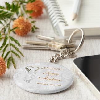Romantic Daisy, Gold Heart & White Ribbon Key Ring