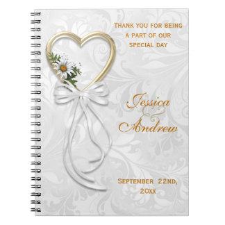 Romantic Daisy, Gold Heart & White Ribbon Notebook