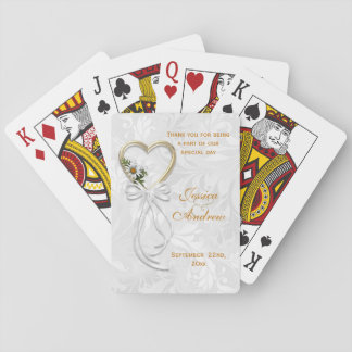 Romantic Daisy, Gold Heart & White Ribbon Playing Cards