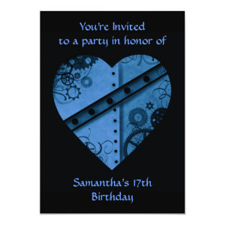 "Romantic dark blue steampunk heart 5x7"" card"