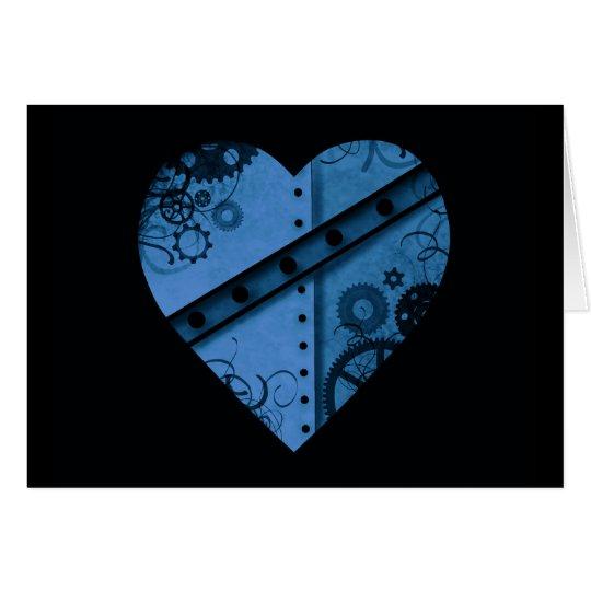 Romantic dark blue steampunk heart card