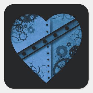 Romantic dark blue steampunk heart square sticker