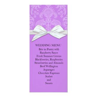 Romantic Dark Lavender Damask Wedding Menu 10 Cm X 24 Cm Invitation Card