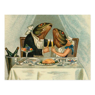 """Romantic Dinner for Frogs"" Postcard"
