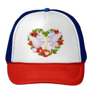 Romantic Doves Holding a Heart Pendant Cap