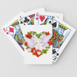 Romantic Doves Holding Heart Pendant Bicycle Playing Cards