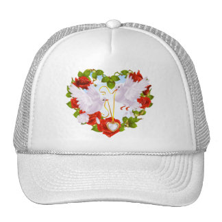 Romantic Doves Holding Heart Pendant Cap