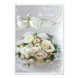 Romantic Doves, Sparkles & Roses Save the Date Card